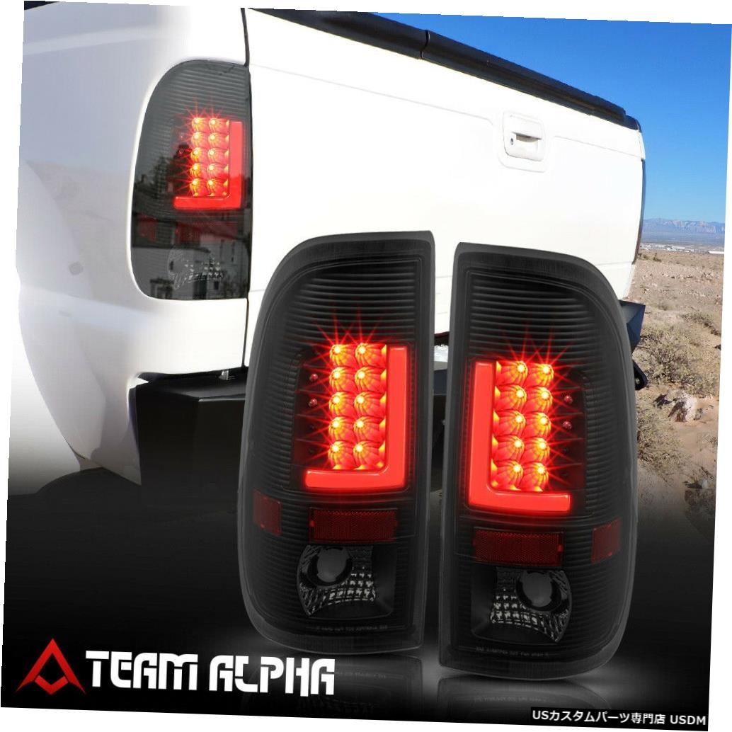 テールライト Fits 1999-2007 F150/F250 Styleside <RED LED L-BAR> Black/Smoke Tail Light Lamp