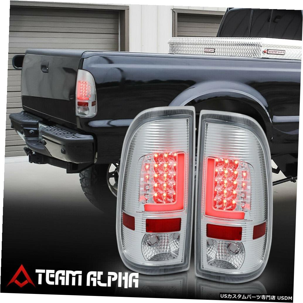 テールライト Fits 2008-2016 F250/F350/F450 SD <NEON TUBE LED L-BAR> Chrome/Clear Tail Light