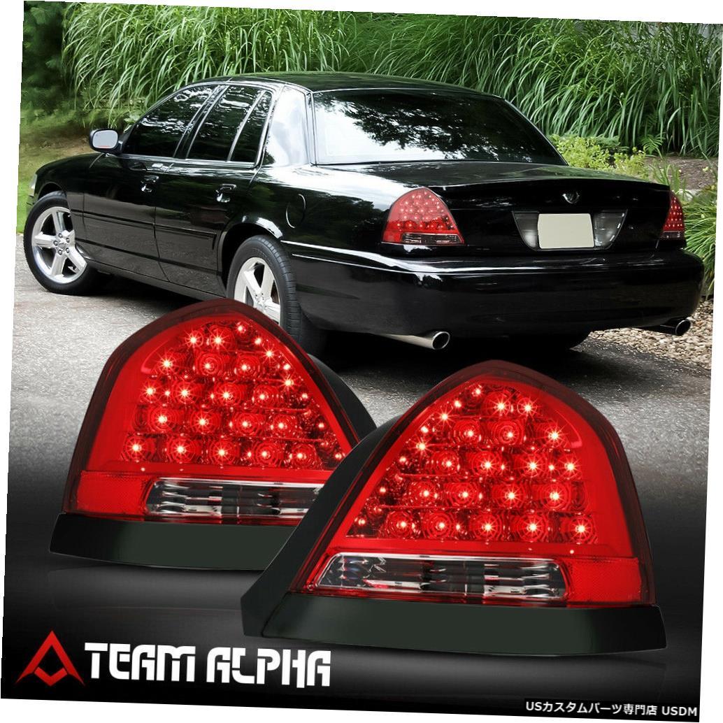 テールライト Fits 1998-2011 Ford Crown Victoria <FULL LED> Red Tail Light Lamp w/Black Trim