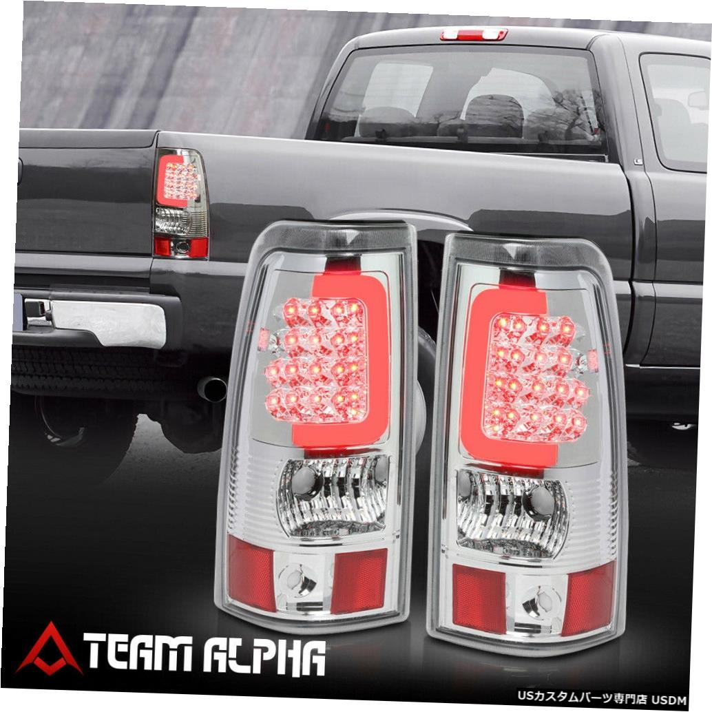 テールライト Fits 2003-2007 Silverado/Sierra Fleetside<LED C-BAR>Chrome/Clear Tail Light Lamp
