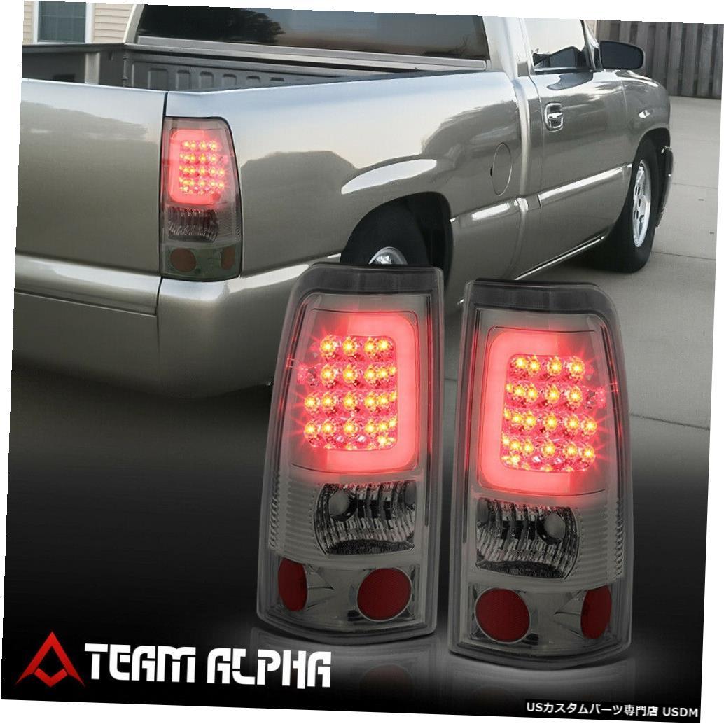 テールライト Fits 1999-2003 Silverado/Sierra<NEON TUBE LED C-BAR>Chrome/Smoke Tail Light Lamp
