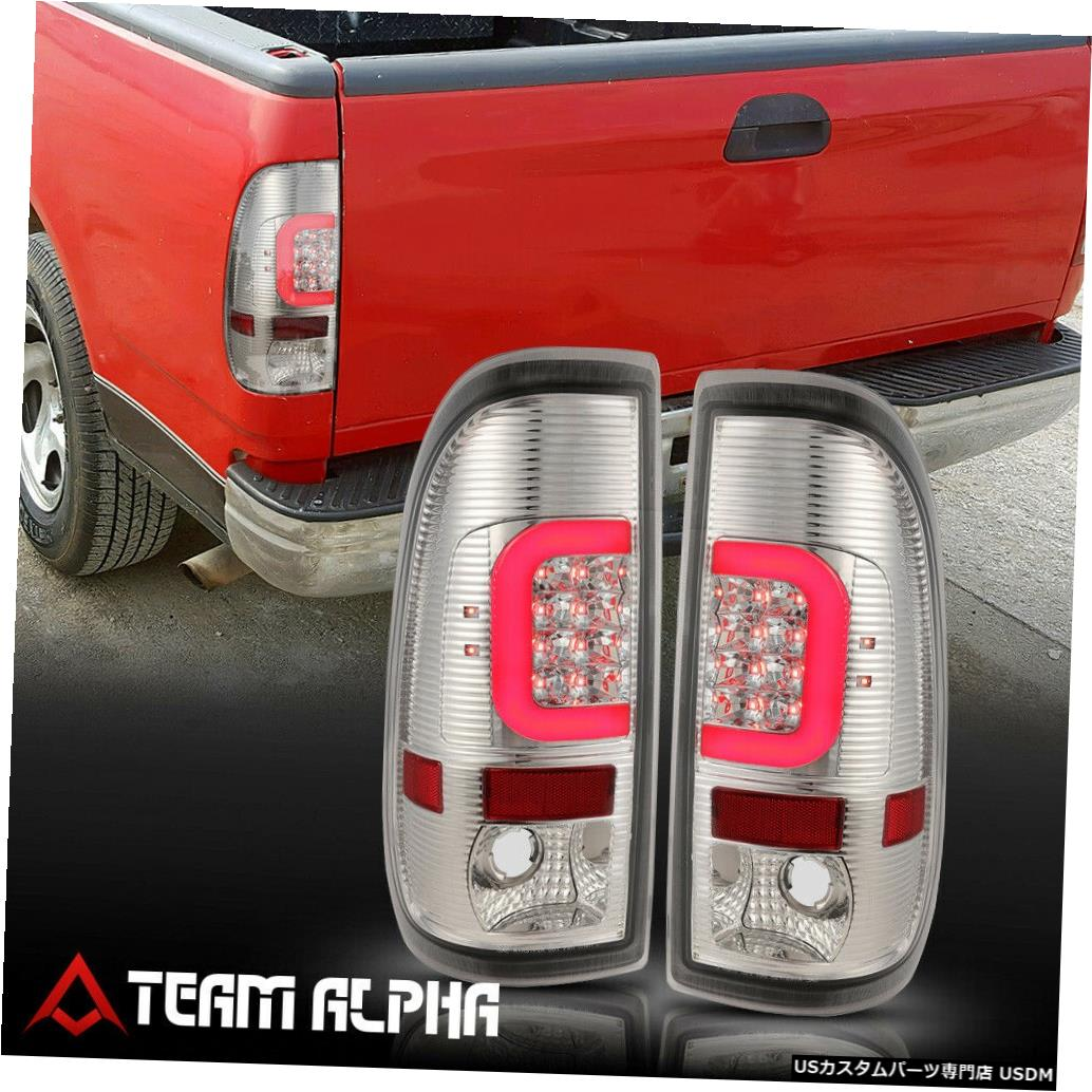 テールライト Fits 1999-2007 F150/F250 Styleside <NEON TUBE LED C-BAR> Chrome/Clear Tail Light