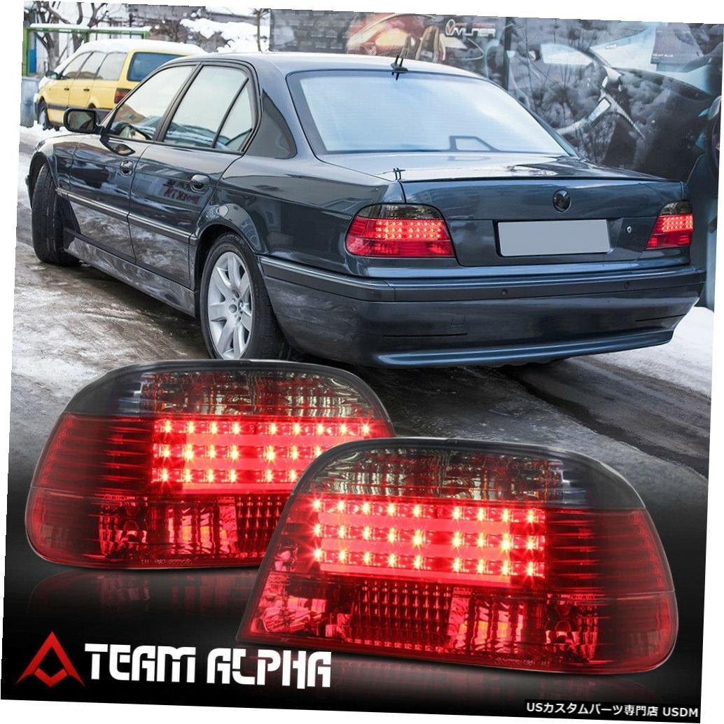 テールライト Fits 1995-2001 BMW E38 7-Series <EURO LED BAR> Red/Smoke Brake Lamp Tail Light