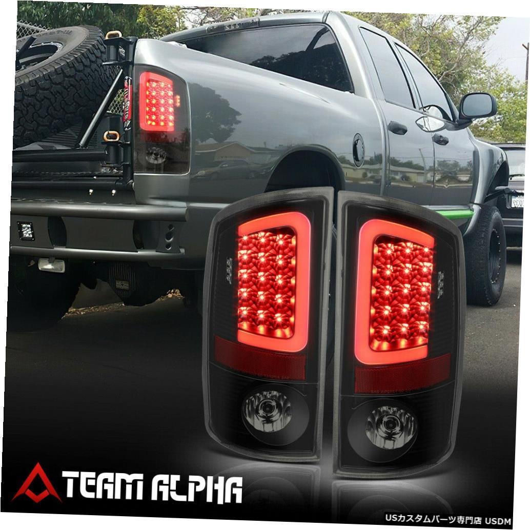 テールライト Fits 2007-2009 Dodge Ram <NEON TUBE LED C-BAR> Black/Smoke Brake Lamp Tail Light