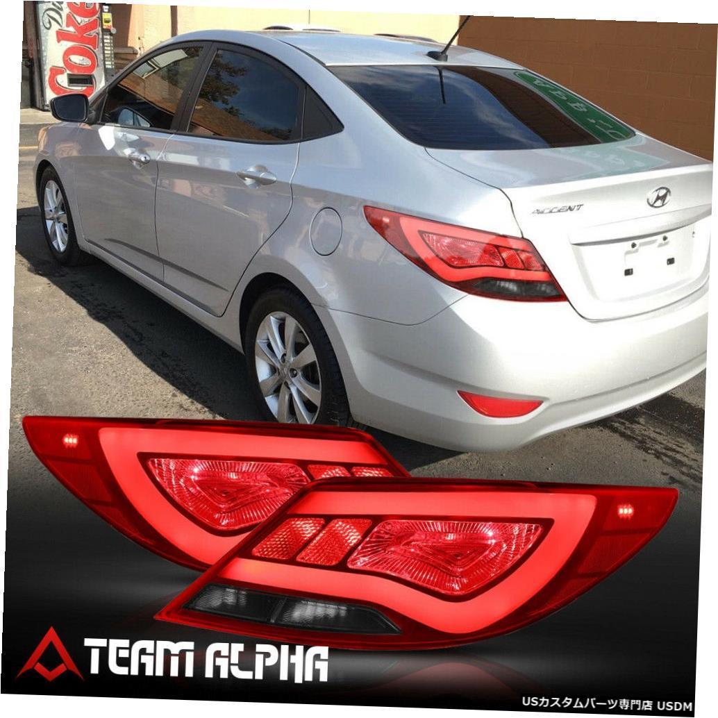 テールライト Fits 2012-2017 Hyundai Accent 4Dr <NEON TUBE LED BAR> Red/Smoke Tail Light Lamp