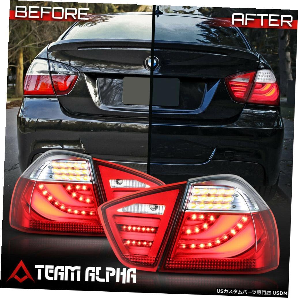 テールライト Fits 2006-2008 BMW E90/E91 3-Series 4Dr <NEON TUBE LED BAR> Red/Clear Tail Light