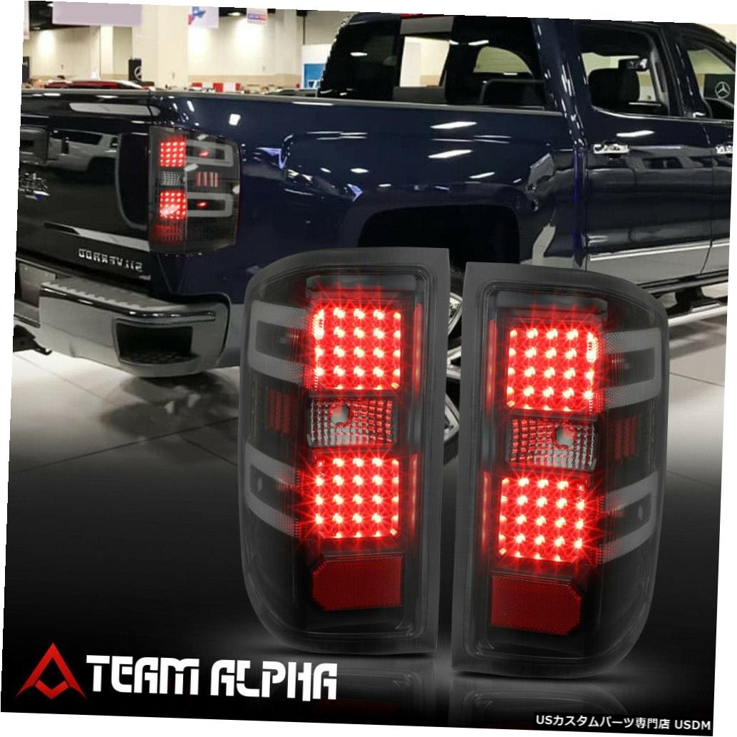 テールライト Fits 2014-2017 Silverado/Sierra<FULL LED>Black/Smoke Brake Lamp Rear Tail Light