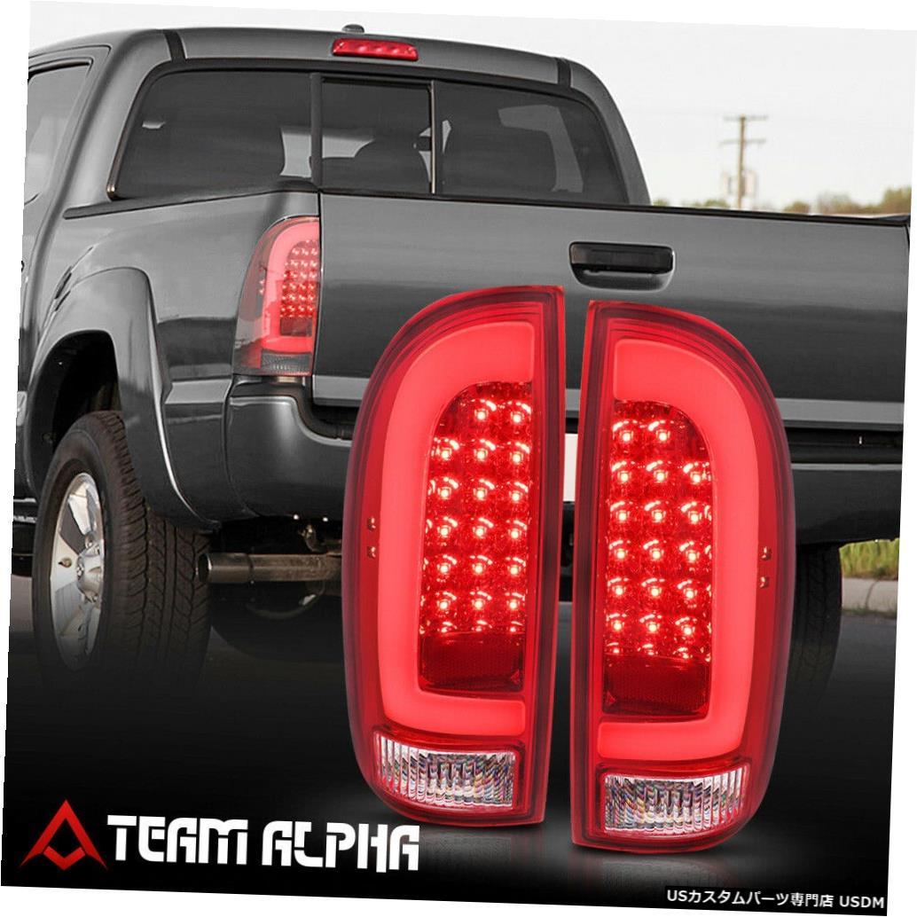 テールライト Fits 2005-2015 Toyota Tacoma<NEON TUBE LED C-BAR>Chrome/Red Rear Tail Light Lamp