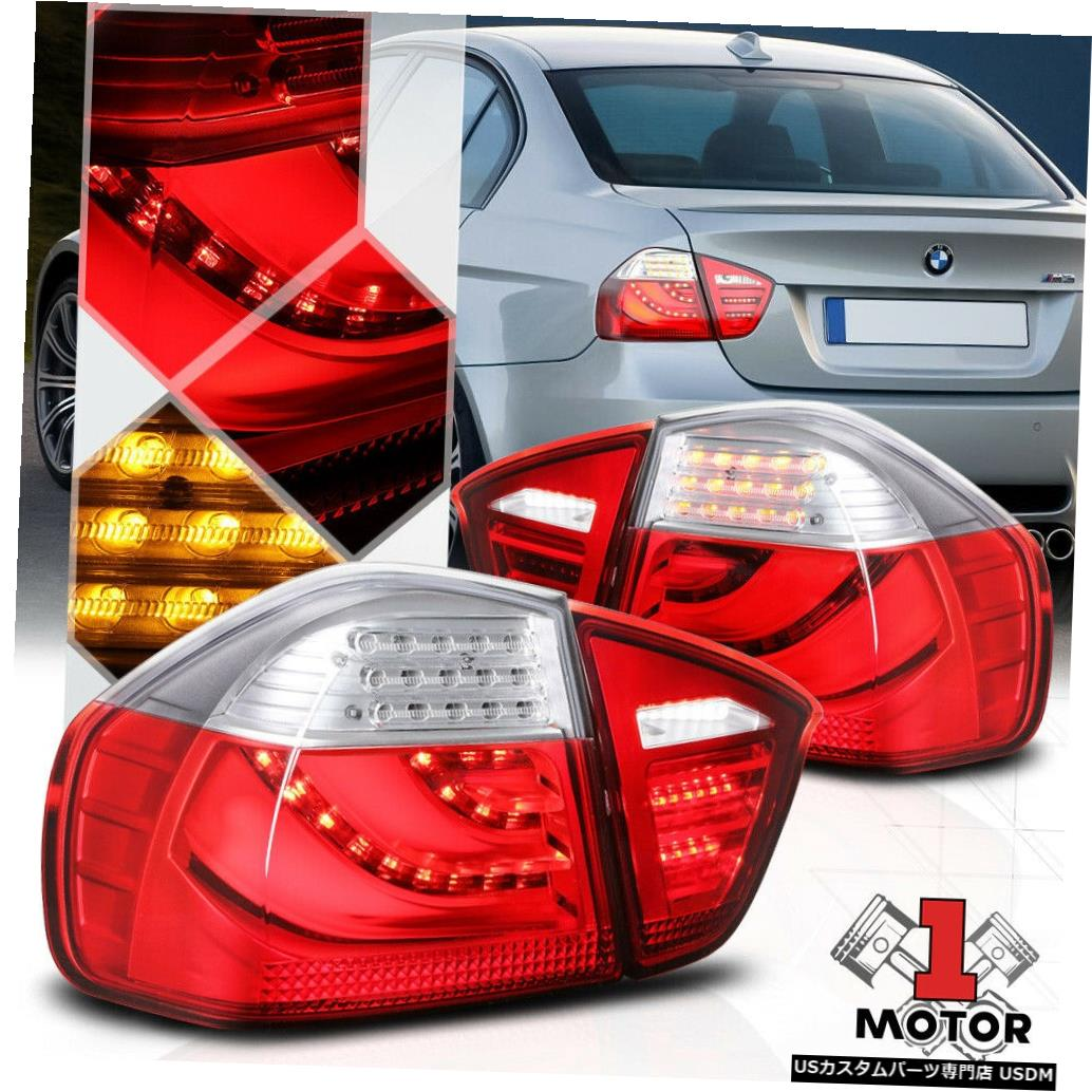 テールライト 06/08 BMW E90 / E91 3シリーズ4Dr用赤/クリア*トロンLEDバー*テールライトブレーキランプ Red/Clear*Tron LED Bar*Tail Light Brake Lamp for 06-08 BMW E90/E91 3-Series 4Dr
