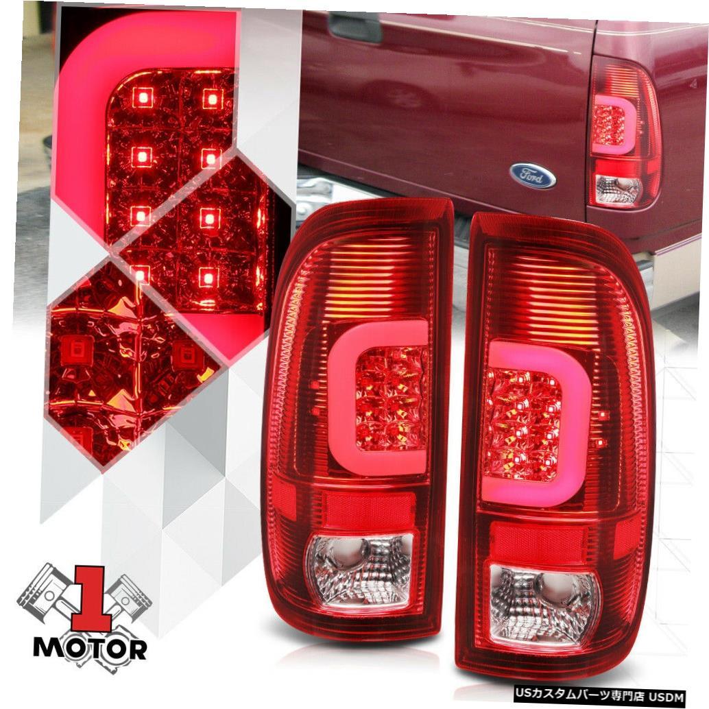 テールライト 97-03フォードF150スタイルサイド用クローム/レッド* TRON LED C-BAR *ネオンチューブテールライト Chrome/Red *TRON LED C-BAR* Neon Tube Tail Light for 97-03 Ford F150 Styleside