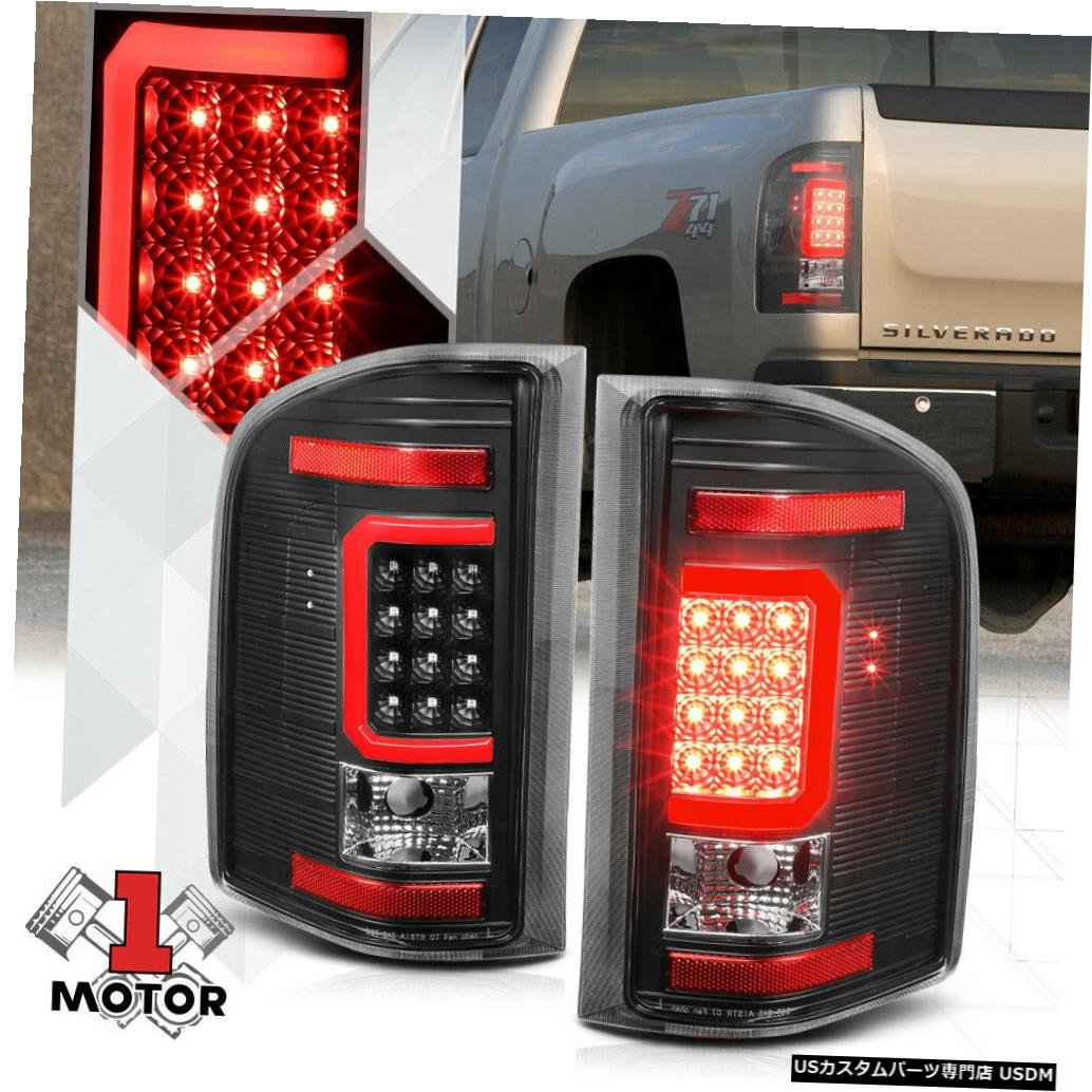 テールライト ブラック/クリア*トロンLEDバー* 07-14シボレーシルバラード用3Dレッド-Cネオンテールライト Black/Clear *Tron LED Bar* 3D Red-C Neon Tail Light for 07-14 Chevy Silverado
