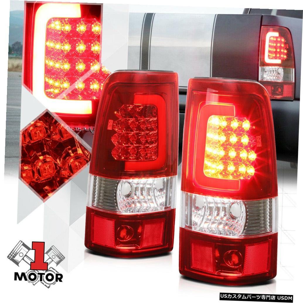 テールライト クローム/レッド* TRON LED BAR * 03-07シルバラードフリートサイド用3Dレッド-Cネオンテールライト Chrome/Red *TRON LED BAR* 3D Red-C Neon Tail Light for 03-07 Silverado Fleetside