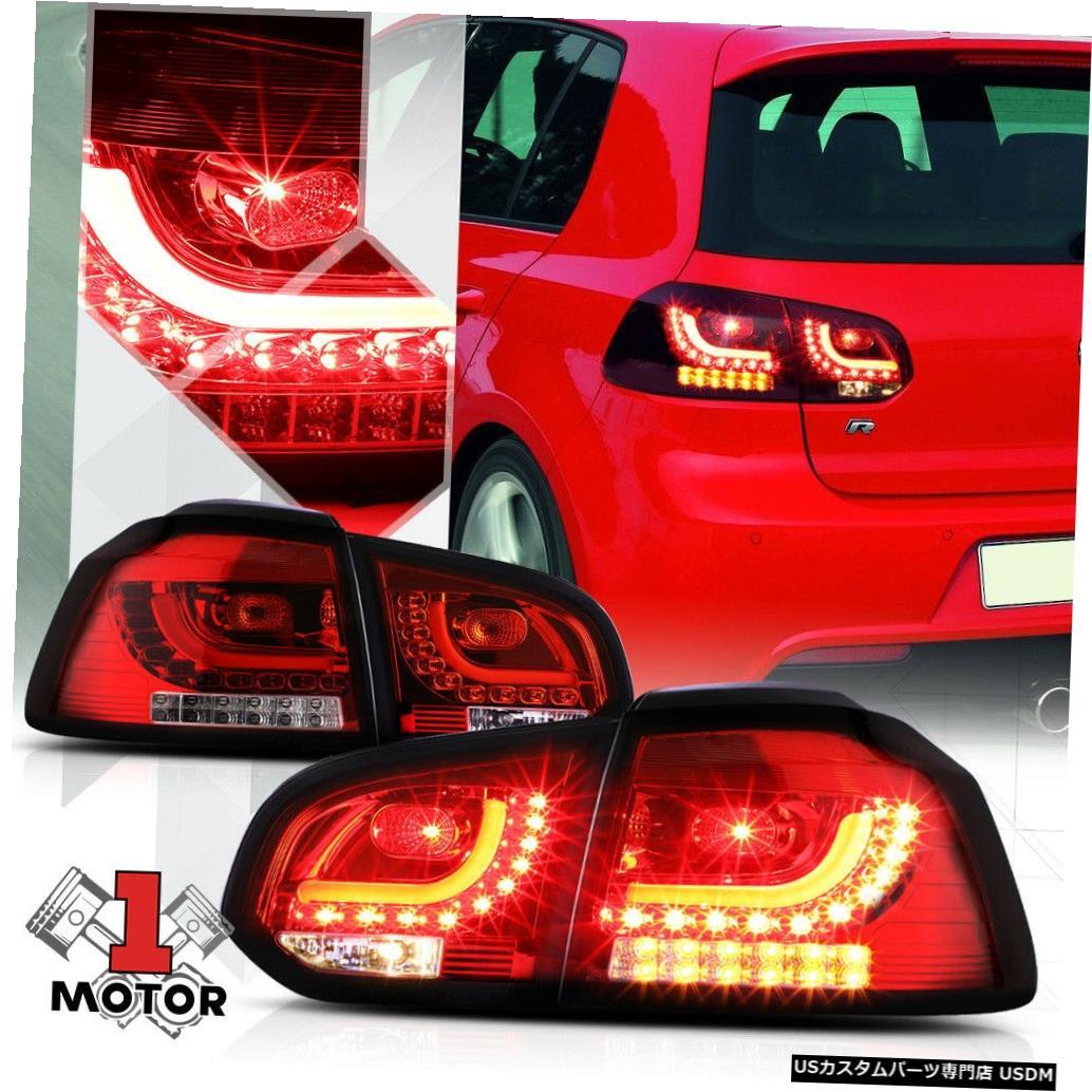 テールライト 10-14 VWゴルフハッチバック用のレッド/クリア*トロンLEDバー*ネオンテールライトブレーキランプ Red/Clear *Tron LED Bar* Neon Tail Light Brake Lamp for 10-14 VW Golf Hatchback