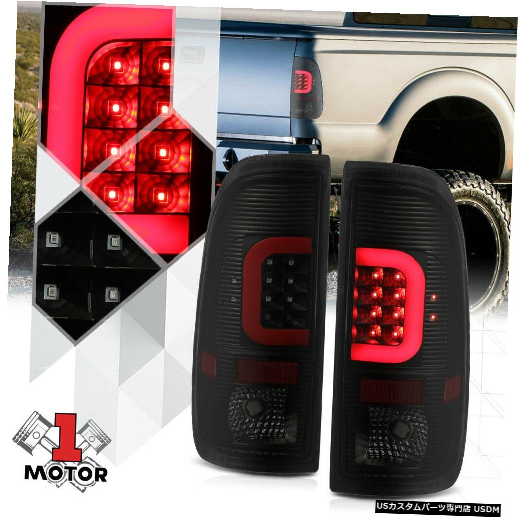 テールライト 08-16フォードF250 F350 F450用ブラック/スモーク*トロンLEDバー* 3Dレッド-Cネオンテールライト Black/Smoked*TRON LED BAR*3D Red-C Neon Tail Light for 08-16 Ford F250 F350 F450