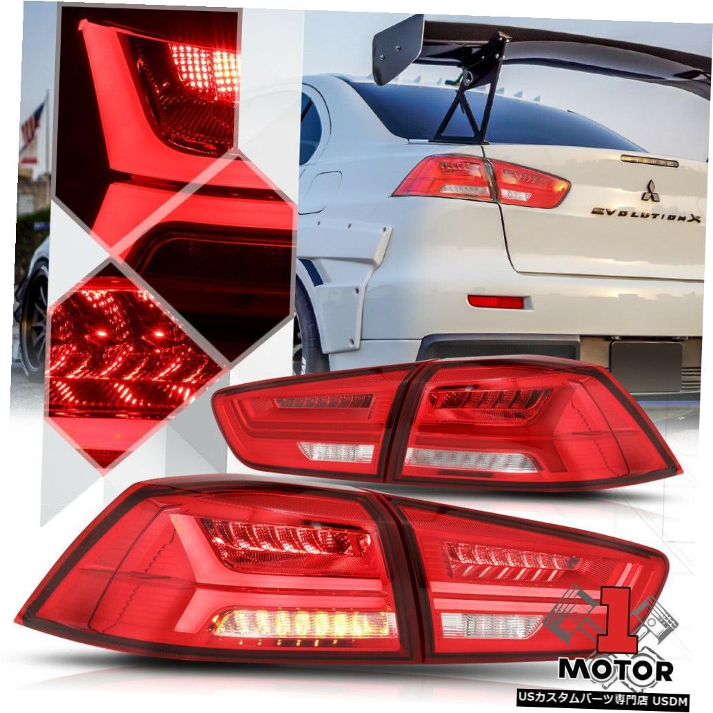 テールライト レッド/クリア*トロンLEDバーシーケンシャルシグナル* 08-17ランサーエボX用テールライトランプ Red/Clear*TRON LED BAR SEQUENTIAL SIGNAL*Tail Light Lamp for 08-17 Lancer Evo X