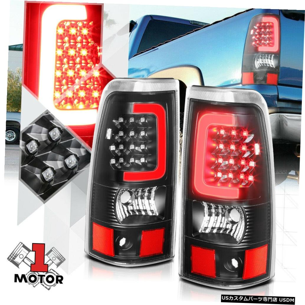 テールライト 03-07シルバラードフリートサイド用ブラック/クリア*トロンLEDバー* 3Dレッド-Cネオンテールライト Black/Clear*TRON LED BAR*3D Red-C Neon Tail Light for 03-07 Silverado Fleetside