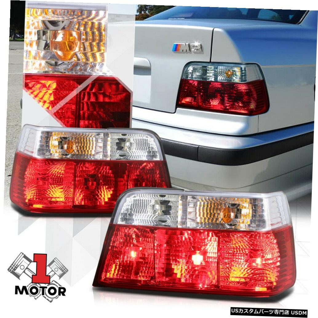 BMW EURO 92-99 Red/Clear for 92-99 Light 4Dr 3-Series *テールライト Chrome Housing *EURO* Sedan 3シリーズ4Drセダン用クロームハウジングレッド/クリア* E36 テールライト BMW Tail E36