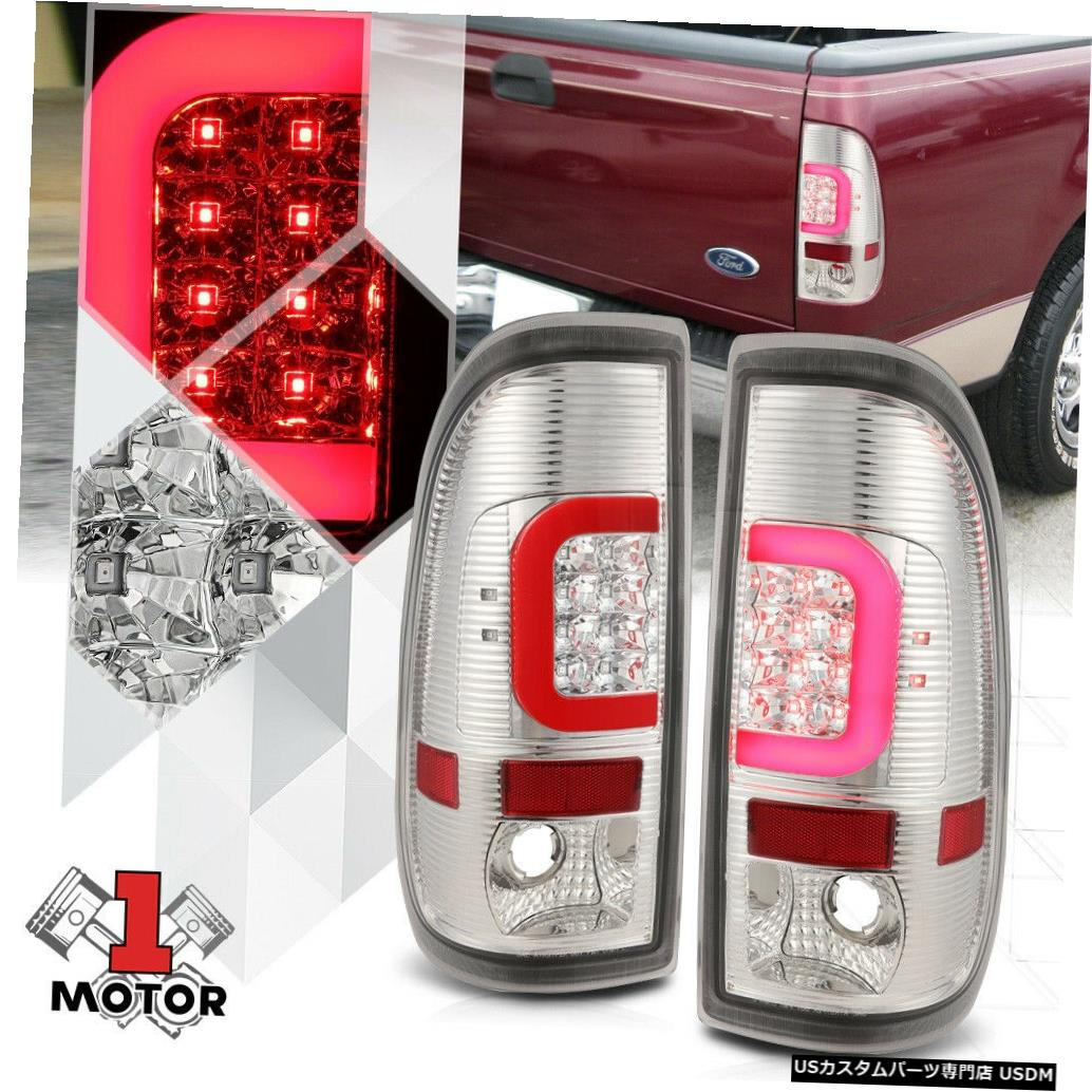 テールライト 97-07 Ford Super Duty用のクロム/クリア* TRON LED BAR * 3D Red-Cネオンテールライト Chrome/Clear *TRON LED BAR* 3D Red-C Neon Tail Light for 97-07 Ford Super Duty