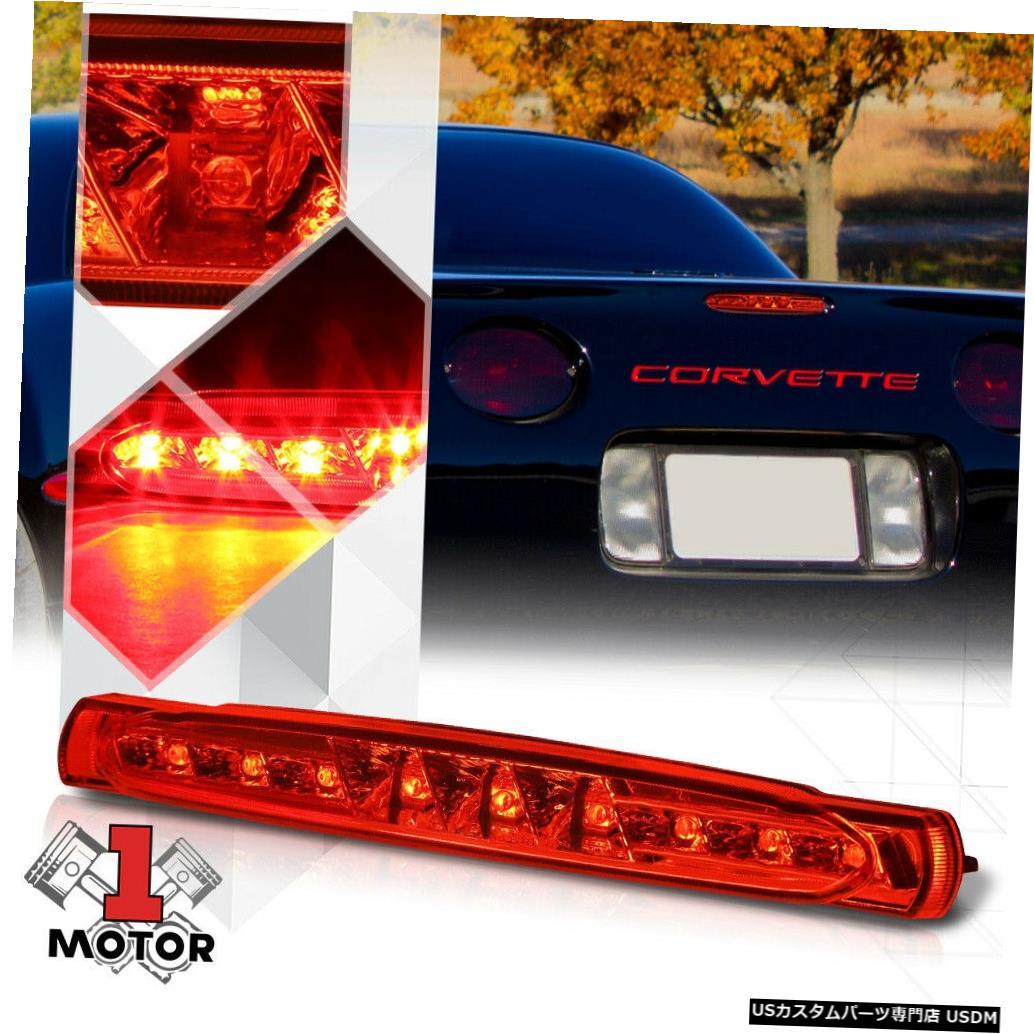 テールライト 97-04シボレーコルベット用クロームハウジングレッドレンズリアLED第3 [第3]ブレーキライト Chrome Housing Red Lens Rear LED Third[3rd]Brake Light for 97-04 Chevy Corvette