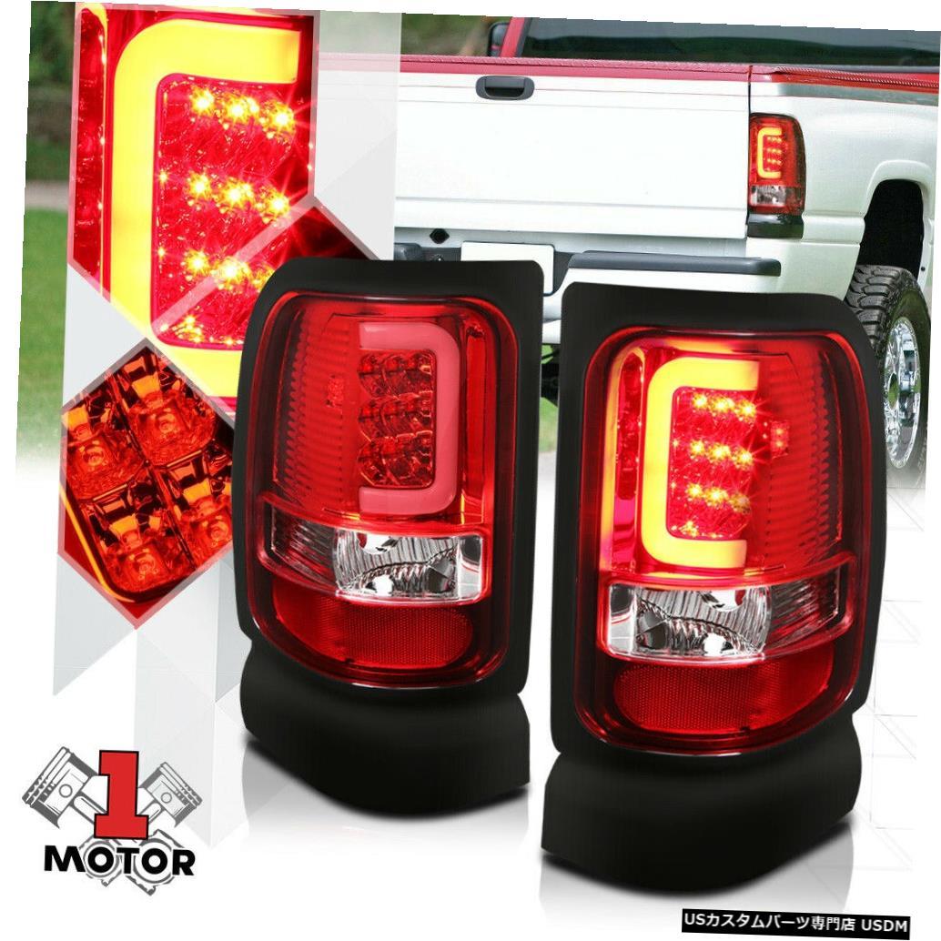 テールライト クローム/レッド* TRON LED BAR * 94-02ダッジラム用3Dネオンチューブテールライトブレーキランプ Chrome/Red *TRON LED BAR* 3D Neon Tube Tail Light Brake Lamp for 94-02 Dodge Ram
