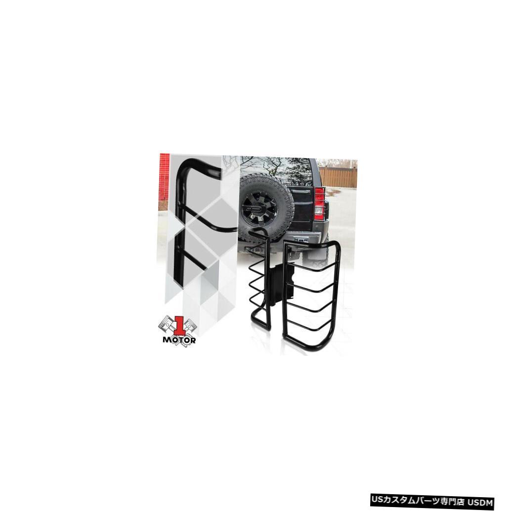 テールライト 06-10ハマーH3用ブラックステンレステールライト/ランプガードプロテクターカバー Black Stainless Steel Tail Light/Lamp Guard Protector Cover for 06-10 Hummer H3