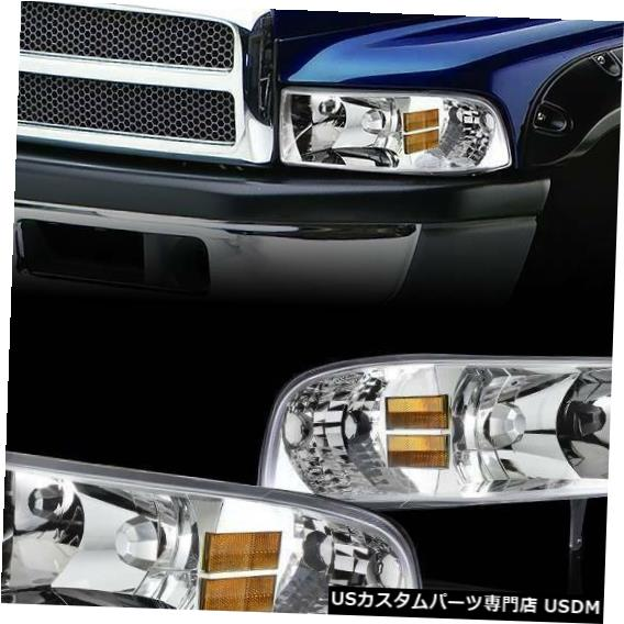 Headlight 1994-2001ダッジラムのクロムハウジングクリアレンズヘッドライトコーナーライトセット Chrome Housing Clear Lens Headlights Corner Lights Set For 1994-2001 Dodge Ram