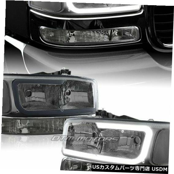 Headlight GMCシエラ/ユーコンXL 1500 2500 G2 DRL LEDスモーククリアヘッドライト+バンパーランプ用 For GMC Sierra/Yukon XL 1500 2500 G2 DRL LED Smoke Clear Headlights+Bumper Lamp