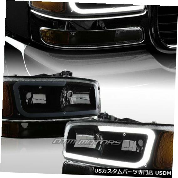 Headlight GMCシエラ/ユーコンXL 1500 2500 G2 DRL LEDブラックスモークヘッドライト+バンパーランプ For GMC Sierra/Yukon XL 1500 2500 G2 DRL LED Black Smoke Headlights+Bumper Lamp