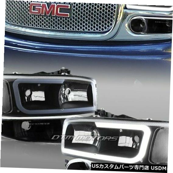 Headlight GMCシエラ/ユーコンXL 1500デナリG2 DRL LEDブラッククリアヘッドライト+バンパー4PC用 For GMC Sierra/Yukon XL 1500 Denali G2 DRL LED Black Clear Headlights+Bumper 4PC