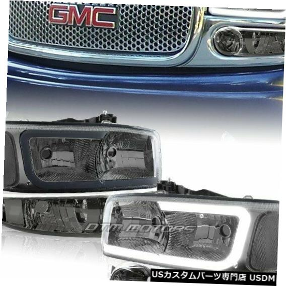 Headlight 2001-2006 GMCユーコン1500デナリDRL LEDブラックスモーククリアヘッドライト+バンパー用 For 2001-2006 GMC Yukon 1500 Denali DRL LED Black Smoke Clear Headlights+Bumper