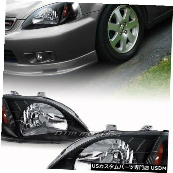 Headlight 99-00ホンダシビック2/3 / 4DR JDMスタイルブラックハウジングヘッドライトコーナーランプ For 99-00 Honda Civic 2/3/4DR JDM Style Black Housing Headlights Corner Lamps