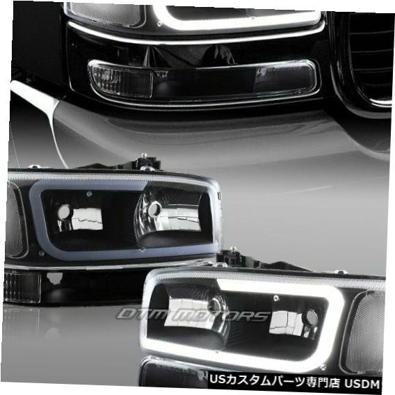 Headlight 1999-2006 GMC Sierra 1500 2500 G2 DRL LEDブラッククリアヘッドライト+バンパー4ピース For 1999-2006 GMC Sierra 1500 2500 G2 DRL LED Black Clear Headlights+Bumper 4PCS