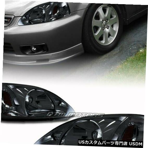 Headlight 1999-2000年ホンダシビック用クロームハウジングスモークレンズヘッドライトコーナーランプ Chrome Housing Smoked Lens Headlights Corner Lamps For 1999-2000 Honda Civic