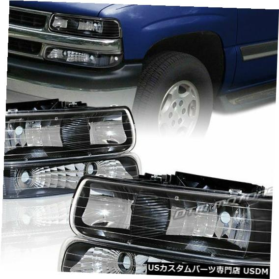 Headlight 2000-2006シボレーサバーバン1500 2500ブラックハウジングヘッドライト+バンパーランプ用 For 2000-2006 Chevy Suburban 1500 2500 Black Housing Headlights + Bumper Lamps