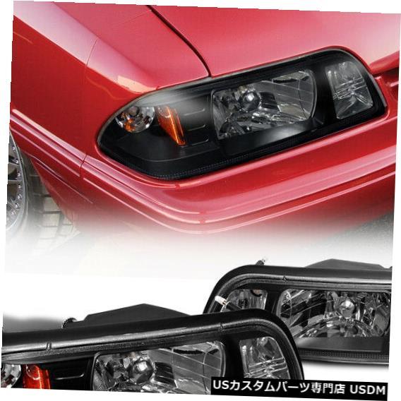 Headlight 1987-1993フォードマスタング1PCヘッドライトコーナーランプブラックペア For 1987-1993 Ford Mustang 1PC Head Lights Corner Lamps Black Pair