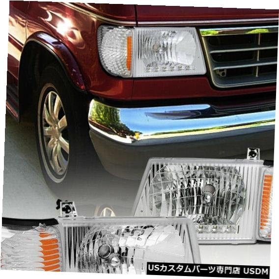 Headlight 1992-2006フォードE150 E250 E350エコノラインバンヘッドライトLED DRL +コーナーランプ For 1992-2006 Ford E150 E250 E350 Econoline Van Headlights LED DRL+Corner Lamps