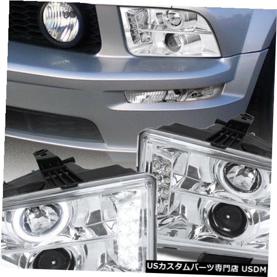 Mustang LED Headlight Mustang Haloプロジェクターヘッドライトランプペア Projector For 2005-2009 LED Headlights Halo Pair 2005-2009 Ford Ford Lamps