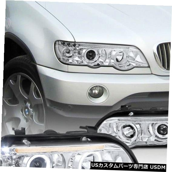 Headlight 2001-2003 BMW X5デュアルHaloプロジェクターヘッドライト(LEDランプ交換付き) For 2001-2003 BMW X5 Dual Halo Projector Headlights w/ LED Lamps Replacement