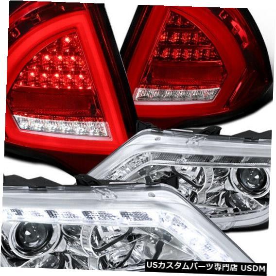 Headlight 2010-2012フュージョンLED DRLプロジェクターヘッドライト+レッドLEDテールライトブレーキランプ For 2010-2012 Fusion LED DRL Projector Headlights+Red LED Tail Lights Brake Lamp