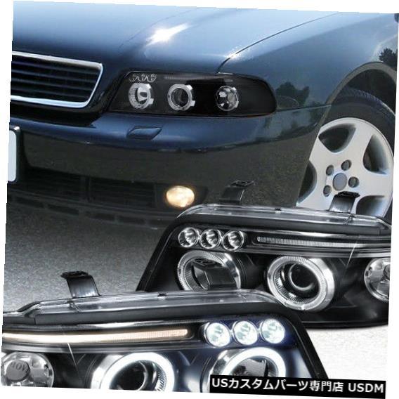 Projector Black A4 99-01 Dual 99-01 Headlights Head For Halo LED A4デュアルLED Headlight Lamps Haloプロジェクターヘッドライトヘッドランプブラック