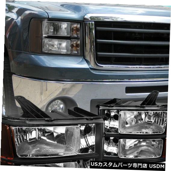 Headlight 2007-2013 GMCシエラピックアップブラックヘッドライトヘッドランプ交換用 For 2007-2013 GMC Sierra Pickup Black Headlights Head Lamps Replacement
