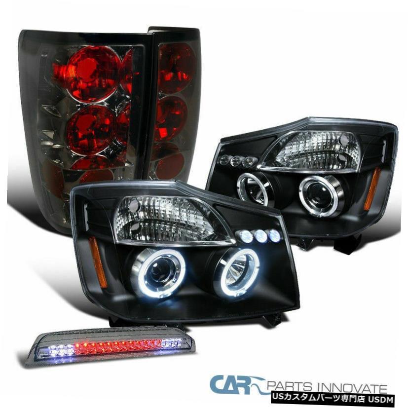 For 04-15 Titan Glossy Black Projector Headlights+Black Tail+Smoke LED 3rd Brake