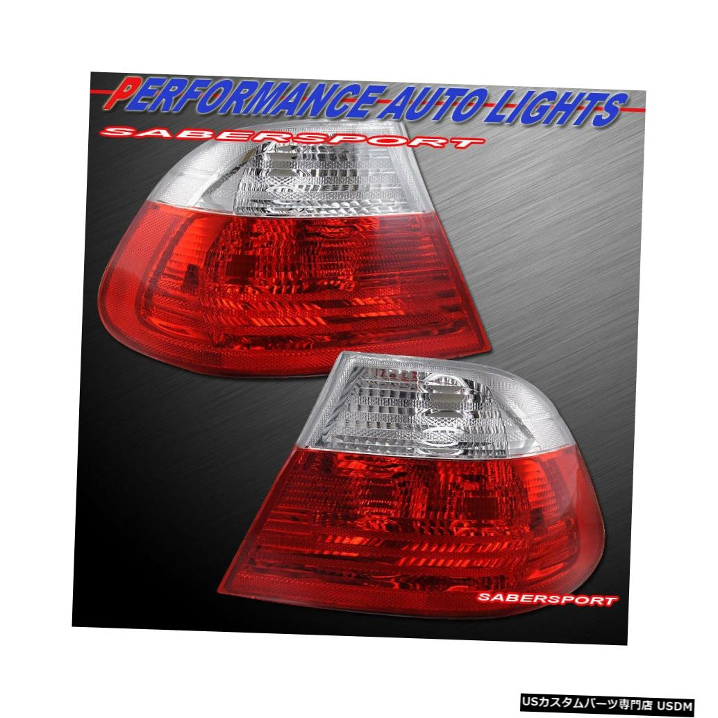 Tail light 2000-2003 BMW E46 3シリーズ2drクーペ用ペアレッドクリアテールライトセット Set of Pair Red Clear Taillights for 2000-2003 BMW E46 3-Series 2dr Coupe