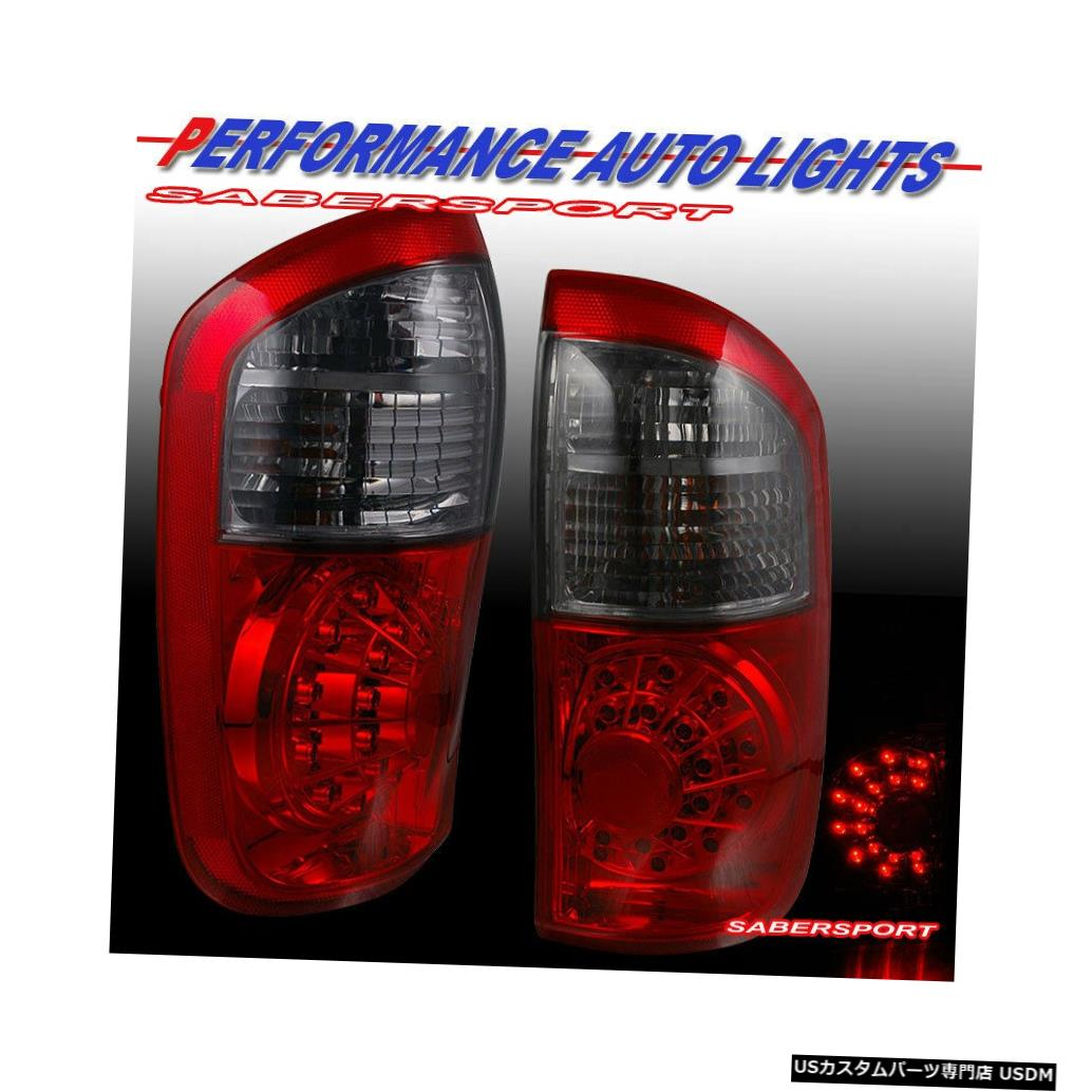 Tail light 2004-2006 Tundraダブルキャブ/クルーキャブ用ペア赤スモークLEDテールライトのセット Set of Pair Red Smoke LED Taillights for 2004-2006 Tundra Double Cab / Crew Cab