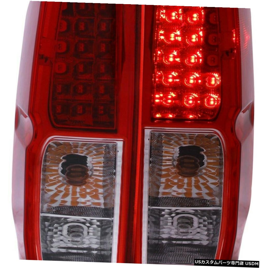 Tail light 2005-2019日産フロンティア用ペアレッドクリアLEDテールライトのセット Set of Pair Red Clear LED Taillights for 2005-2019 Nissan Frontier