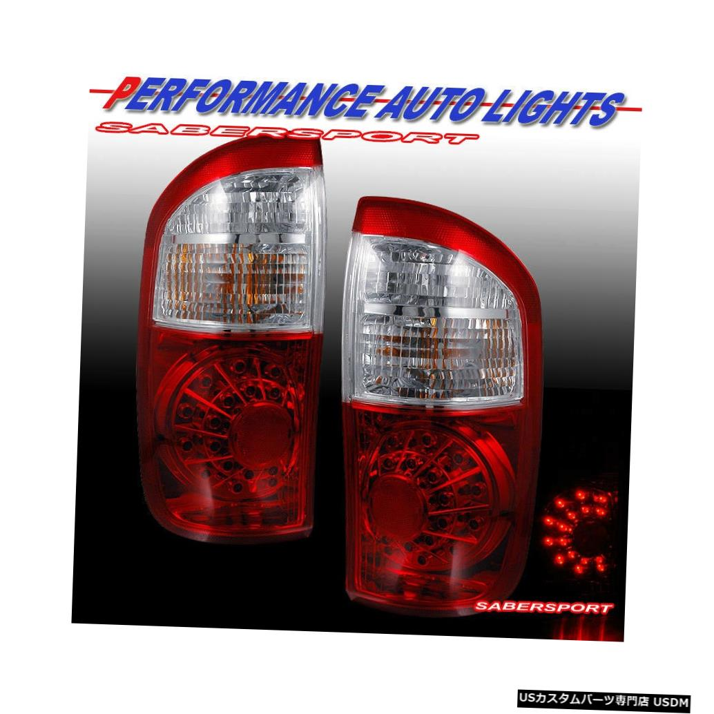 Tail light 2004-2006 Tundraダブルキャブ/クルーキャブ用ペアレッドクリアLEDテールライトのセット Set of Pair Red Clear LED Taillights for 2004-2006 Tundra Double Cab / Crew Cab