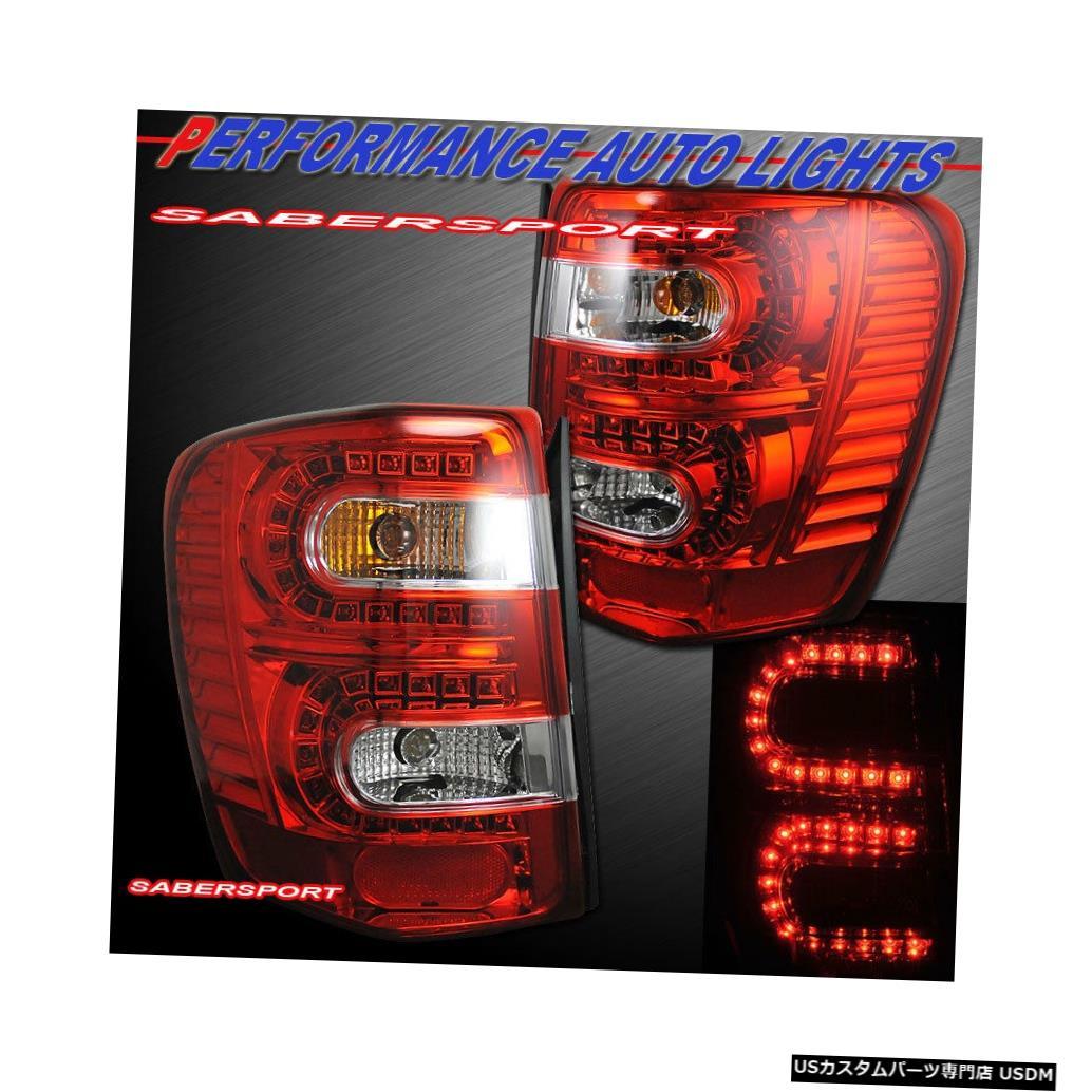 Tail light 1999-2004年のジープグランドチェロキーのペアレッドレンズLEDテールライトのセット Set of Pair Red Lens LED Taillights for 1999-2004 Jeep Grand Cherokee