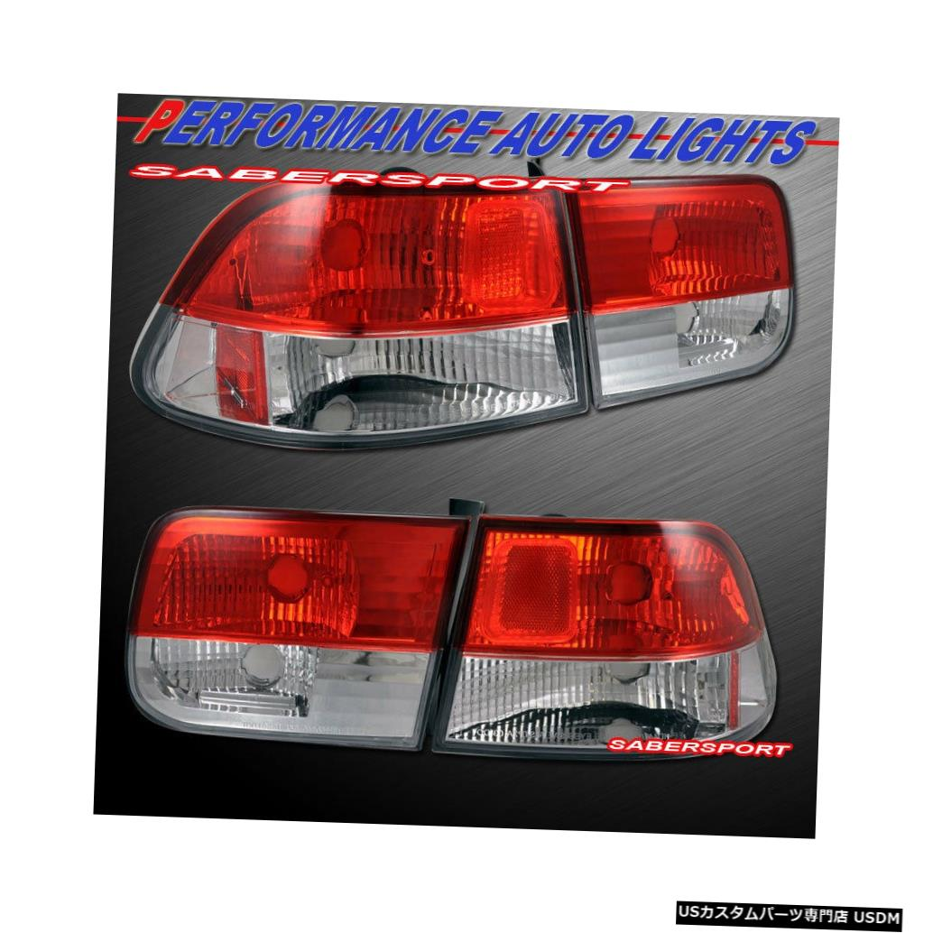 Tail light 1996-2000ホンダシビック2drクーペの4本の赤いクリアテールライトのセット Set of 4pcs Red Clear Taillights for 1996-2000 Honda Civic 2dr Coupe