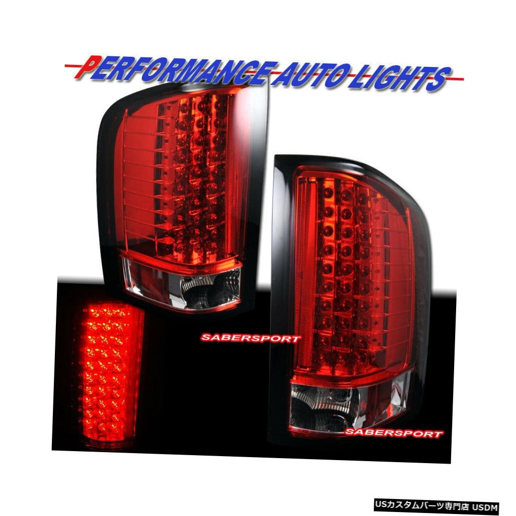 Tail light 2007-2013シェビーシルバラード1500 2500 3500用ペアレッドレンズLEDテールライトのセット Set of Pair Red Lens LED Taillights for 2007-2013 Chevy Silverado 1500 2500 3500