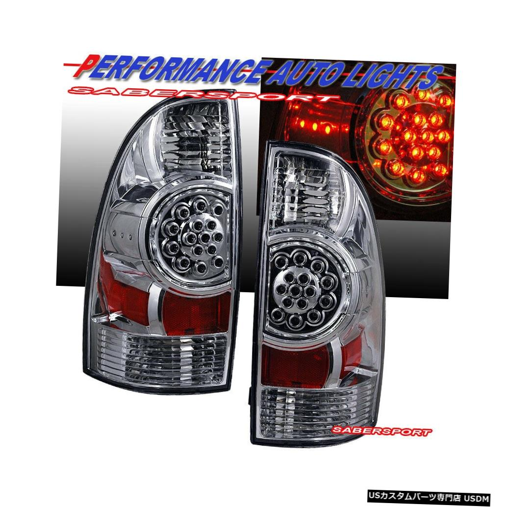 Tail light 2005-2015トヨタタコマ用ペアクロームクリアLEDテールライトセット Set of Pair Chrome Clear LED Taillights for 2005-2015 Toyota Tacoma
